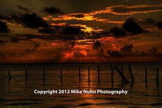 Gallery - Mike Nuhn Photography - Ocean - Gulf of Mexico - Rockport, Texas - Copano Bay - Remnants of pier at sunset