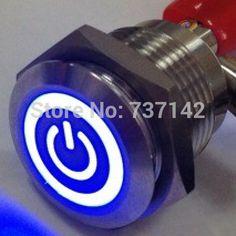 ELEWIND 16mm illuminato simbolo del potere push on switchs (PM161F-10ET/J/B/12 V/S)