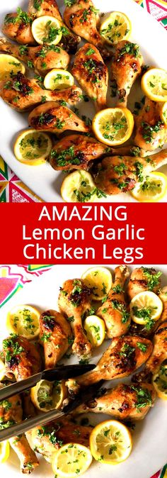 Baked Lemon Garlic Chicken Legs These baked lemon garlic chicken legs are truly amazing! So easy to make and everyone loves them!These baked lemon garlic chicken legs are truly amazing! So easy to make and everyone loves them! Baked Lemon Garlic Chicken, Baked Chicken Legs, Roasted Chicken, Baked Chicken Drumsticks, Bbq Chicken, Healthy Chicken Recipes, Turkey Recipes, Cooking Recipes, Chicken