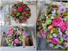 Ramo de novia colorido en fucsia, lila,  verde y naranja. Mayula Flores
