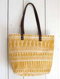 screen printed tote bag  Mustard Market Weave by SlideSideways, $64.00