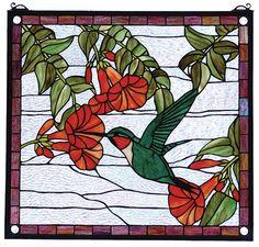 Hummingbird Rectangular Stained Glass Window | 21x19 inches