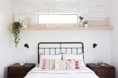 Bohemian flair meets classic mid-century modern vibes in this guest bedroom!