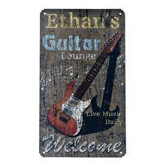Rustic Metal Sign - Guitar Lounge $24.95