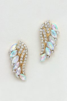 Pave Crystal Golden Wings with Iridescent Marquise
