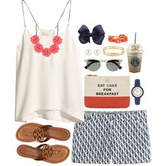 A fashion look from May 2014 featuring H&M tops, J.Crew shorts and Tory Burch sandals. Browse and shop related looks.