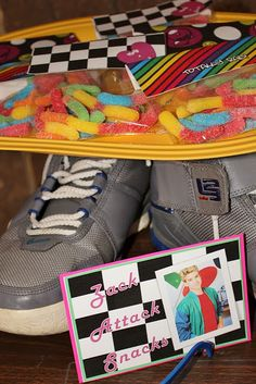totally rad snacks @ http://www.karaspartyideas.com/category/80s-dessert-table