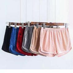Workout Shorts Womens 2017 Spring Summer Loose Casual Colorful Elastic Waist Pantalones Cortos Mujer High Waist Velvet Shorts