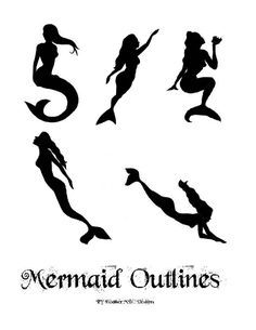 5 mermaid styles in two different sizes, x 11 and half sheet sizes too. This PDF was created from my mermaid sketches. More sea life printable patterns coming soon! If you are on the hunt for patterns you don Mermaid Sketch, Mermaid Drawings, Mermaid Crafts, Mermaid Diy, Mermaid Outline, Shilouette Cameo, Mermaid Bedroom, Fairy Jars, Art Mural