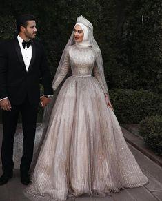 Sparkly Muslim long sleeve sequins Wedding Gown with matching veil - Nirvanafourteen Muslim Wedding Gown, Hijabi Wedding, Wedding Hijab Styles, Wedding Robe, Couple Wedding Dress, Muslimah Wedding Dress, Muslim Wedding Dresses, Sequin Wedding, Dream Wedding Dresses