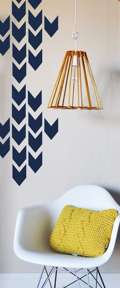 Navajo Arrows Wall Decal Modern Wall Art - Fully removable and reusable wall decals that will brighten and add character to any room. - Includes 40 individual arrows, each x - polyeste Wall Stencil Designs, Wall Design, Stencil Patterns, Estilo Navajo, Hm Deco, Wall Treatments, New Wall, My New Room, Textured Walls