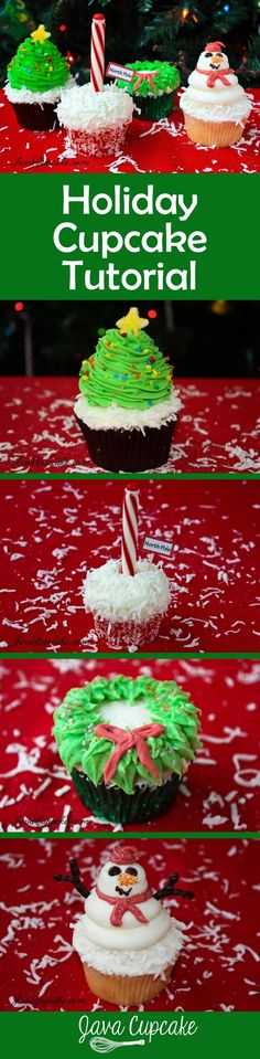 Holiday Cupcake Tutorial - recipes & complete instructions to create 4 amazing cupcakes for your next holiday party! | http://JavaCupcake.com