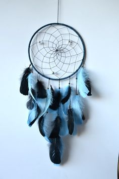 Large Tribal Dream Catcher Black and Blue  by DenDreamCatchers
