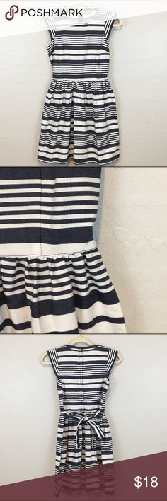 Blue & White Striped Dress EUC. Brand is Dorothy Perkins. Euro size 34= size 2 US. Cute striped pattern..zipper and tie back Dorothy Perkins Dresses