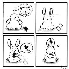 Cute Couple Comics, Couples Comics, New Ios, Bunny And Bear, Cute Bears, Love Can, Cupid, Cute Couples, Baby Dolls