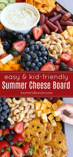Easy-to-make summer cheese board is the ultimate kid-friendly platter that the whole family will love! AD Easy-to-make summer cheese board is the ultimate kid-friendly platter that the whole family will love! Kid Friendly Appetizers, Appetizers For Kids, Kid Friendly Meals, Appetizer Recipes, Easy Summer Appetizers, Charcuterie Recipes, Charcuterie And Cheese Board, Cheese Boards, Charcuterie Plate