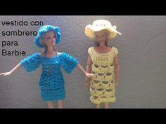 vestido con sombrero crochet para barbie
