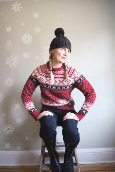 Scandinavian Style Sweater - Nordic Fair Isle - Wool - Red White Black - 90s - Medium