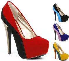 Colorblock Stiletto Heel Almond to Platform Pump Qupid Penelope 44x | eBay