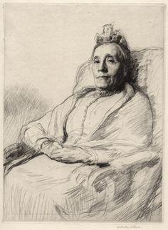 Malcolm Osborne, British (1880-1963) My Mother, drypoint, 1909. Salaman 20. Edition of 30. 12 7/16 x 9 3/16  at Conrad Graeber Gallery