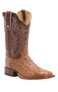Tony Lama Men's Antique Tan Full Quill Ostrich Exotic Square Toe Western Boots | Cavender's