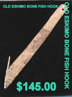 oLD ESKIMO BONE FISH hOOK 145.00 by PetiesPorch on Etsy