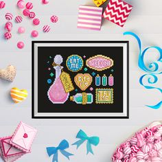 """Alices Confectionery Cross Stitch Chart {Digital Download Only}  These tasty treats are simply irresistible! Why not take one and try for yourself? Inspired by Alice in Wonderland by Lewis Carroll. STITCH DETAILS  • 81 x 61 Stitches • 14 count fabric • 5.75"""" x 4.375"""" - 14.5cm x 11cm finished size • Full stitches and backstitch • 13 DMC/Anchor colours  FILES  You will receive 1 PDF with:  • PDF Pattern with black and white symbols • PDF Pattern with black and white symbols on colour • PDF..."""
