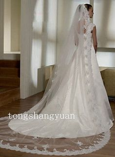 2015 Cathedral Length Bridal Wedding Veil Lace Applique Edge White/Ivory + Comb