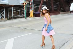 casua look in pink a-line herve leger dress and denim jacket