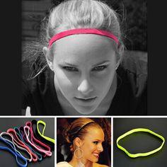 2 Pcs Fashion Women Men Yoga Boys Football Pure Color Thin Hair Bands Sports Headband Anti-slip Elastic Rubber hair Accessories
