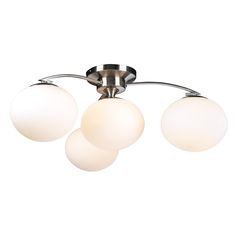 $139.00 - PLC 4 Light Ceiling Light Aosta Collection 7228 SN This Four Light Semi-Flush Mount has a satin finish and is part of the Aosta Collection. 12 in height and 29 wide this is a modern ceiling light that will enhance any living space. With matte opal glass 120v using four 60w incandescent