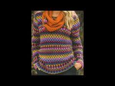 SWEATER a crochet (jersey, saco, suéter, pullover) Jersey Multicolor, Fabric Patterns, Crochet Patterns, Crochet Videos, Loom Knitting, Crochet Clothes, Crochet Projects, Knit Crochet, Clothes For Women