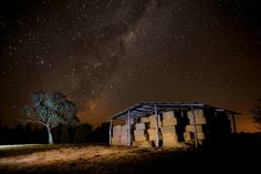 A photo of the Milky Way and old hay shed, Mudgee. Photo by Amber Hooper. Milky Way, First Photo, Beautiful Things, Amber, Bloom, House Styles, Projects, Photography, Painting