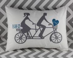 tandem bicycle with date and initials pillow. custom orders. comes in any color or design.