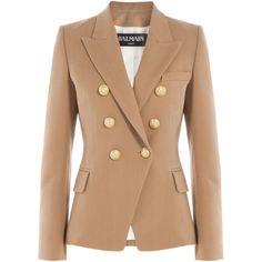 Balmain Cotton Blazer ($2,425) ❤ liked on Polyvore featuring outerwear, jackets, blazers, white, white blazer, balmain blazer, balmain jacket, white jacket and cotton blazer