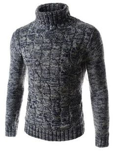 (TN01-NAVY) Mens Slim Stretchy Turtle Neck Front Twist Knitted Long Sleeve Tshirts