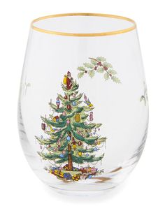 """A holiday classic! First presented by Spode in 1938, the Christmas tree design on these stemless wine glasses will create an air of merriment and nostalgia to your holiday entertaining. Features: Set of four wine glasses. 19 oz capacity each. 5"""" x 3"""". Glass. Hand wash only. Import. Spode Christmas Tree, Christmas Tree Design, Christmas Themes, Red Shutters, Ceramic Cookie Jar, Wine Glass Set, Stemless Wine Glasses, Tree Designs, Holiday Festival"""