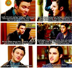 THIS MADE MY DAY!! Glee characters fighting over Twilight and Hunger Games!!!!