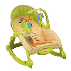 Fisher-Price newborn to toddler rocker. We used this instead of a bouncer.  It rocks and vibrates when the child is tiny...but converts to a toddler chair when the time is right. Too bad the cover is ugly...