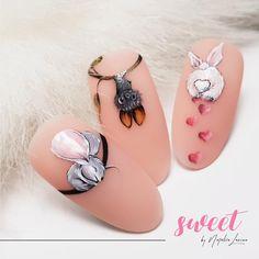 Nail Art Designs, Nailart, Sculpted Gel Nails, Diamond Nail Art, Bunny Nails, Animal Nail Art, Easter Nail Art, Instagram Nails, Cute Nail Art