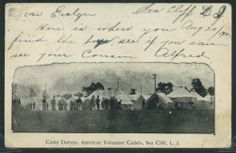 Camp Duryea, American Volunteer Cadets.  Undivided Back Offset Lithographic Printed Private Mailing Card. Postal History:   Sea Cliff, Long Island, New York 1904.  Sent to Miss Evelyn Phillips, 120 Walton Street, Englewood, New Jersey. Caption:  Camp Duryea, American Volunteer Cadets, Sea Cliff, Long Island.
