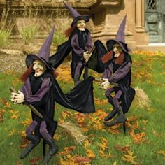Set of Three Staked Halloween Witches
