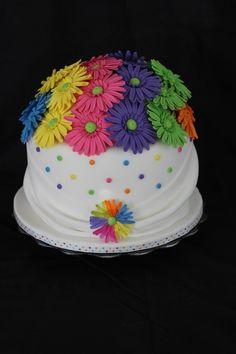 Rainbow Daisy Cake