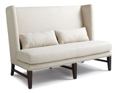 Malibu Loveseat: This Hollywood style high back love seat with silver nail head is perfect for condo spaces, lounges and front lobbies. Stocked in a linen-look fabric. Made of solid wood with espresso finished legs.