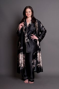 Angelique Plus Size Satin Robe & Pyjamas Set Plus Size Robes, Plus Size Sleepwear, Satin Sleepwear, Satin Pajamas, Sleepwear Women, Nightwear, Black Satin Robe, Satin Pyjama Set, Pyjama Sets