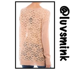 LACE BACK KNIT SWEATER IN BLUSH S/M On trend is simple luxury and feeling feminine. A soft, knit front with dainty pocket; finished neck, sleeves, and bottom edges.  The back is a beautiful sheer lace that makes a truly feminine and sexy statement.  Pair with a cami or gorgeous bralette, depending on how daring you are. Poly/acrylic/cotton, 28 inches long. Available in BLUSH or BEIGE. Sized S/M or M/L only.  No trades. This listing is BLUSH IN S/M luvsmink@more Sweaters Crew & Scoop Necks