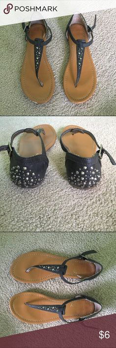 Studded Sandals Gently used, scuffs on the front of each shoe. Otherwise in great condition. Make me an offer ☺️ Black Poppy Shoes Sandals
