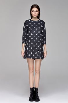 Symbols Print Dress   #symbols #print #dress #minimal #black