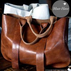 Cognac coloured leather handbag