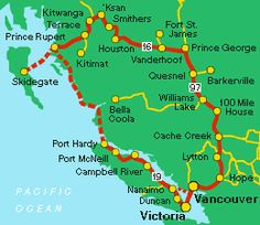 Circle tours of British Columbia - the Vancouver Island and Northwest BC Circle Tour of British Columbia, Canada. Victoria Vancouver Island, Vancouver Travel, Canada Summer, Canada Eh, Road Trip Map, Road Trips, Williams Lake, Victoria British, Canadian Travel